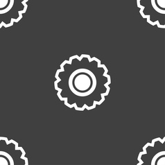 Cogwheel icon sign seamless pattern on a gray vector