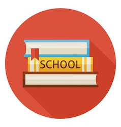 Flat back to school books with bookmark circle vector