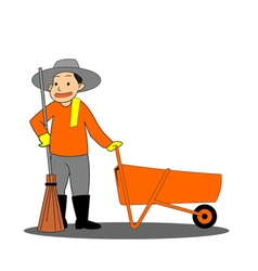 Road sweeper on white background vector