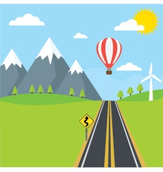 Road and Mountains vector image
