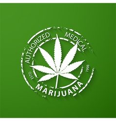 Authorized medical marijuana grunge rubber stamp vector image