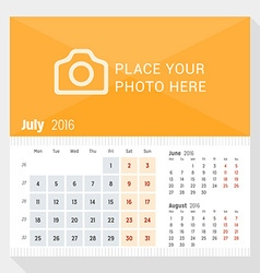 July 2016 desk calendar for 2016 year week starts vector