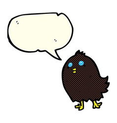 Cartoon spooky black bird with speech bubble vector