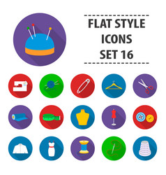 atelie set icons in flat style big collection vector image