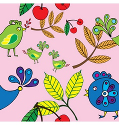 autumn bird and fruit pattern vector image