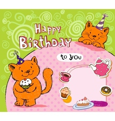 Birthday greeting card with red cats vector image