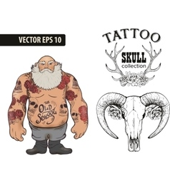 Brutal tattoo man collection vector