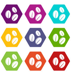 coffee beans icon set color hexahedron vector image