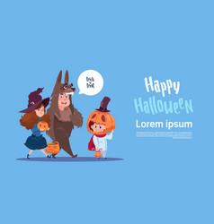 cute kids wear monsters costume happy halloween vector image