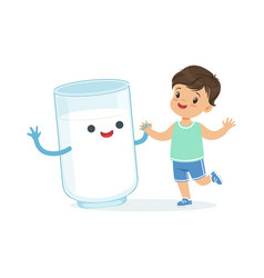 Cute little boy and funny milk glass with smiling vector
