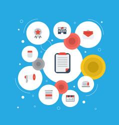 Flat icons customer summary monitoring social vector