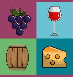 Glass wine grape barrel and cheese icon vector