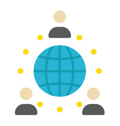 Global partnership flat icon business vector