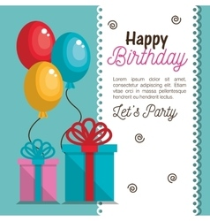 happy birthday invitation card vector image