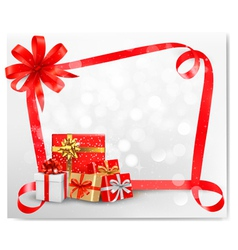 Holiday background with red gift bow and gift vector image vector image