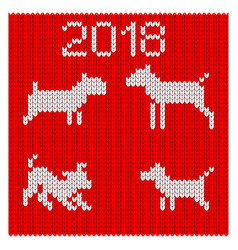 knitted silhouettes of dogs vector image vector image