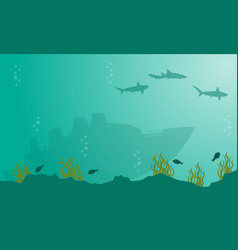 Landscape of ship and shark underwater silhouettes vector