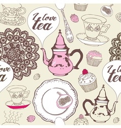 Love Tea Pattern vector image vector image