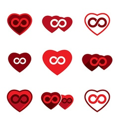 Love theme icons set infinite love idea conceptual vector image vector image