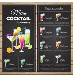 Menu Classic Alcohol Cocktails vector image