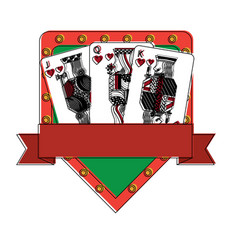 Poker casino jack queen king card gambling board vector