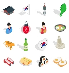 Republic Of Korea icons set isometric 3d ctyle vector image vector image