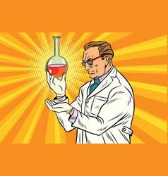 Scientist chemist analyzes laboratory flask vector