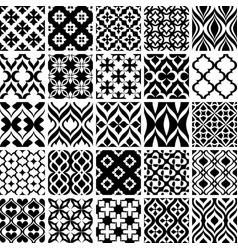 set of black and white patterns vector image