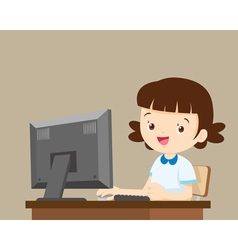 Student girl working with computer vector