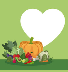 Vegetables fresh ingredients heart healthy food vector
