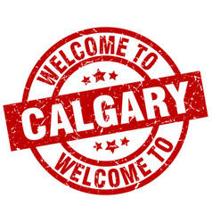 Welcome to calgary red stamp vector