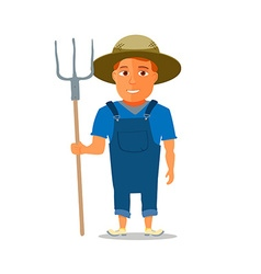 Cartoon farmer character with pitchfork vector