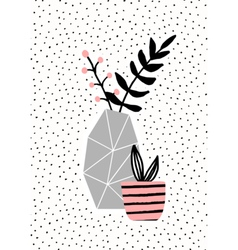 Concrete vase and pink pot vector