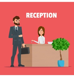 Customer receives a businessman the key reception vector