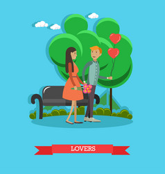 Flat of loving couple having vector