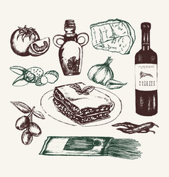 Italian food - hand drawn composition vector