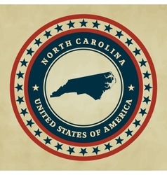 Vintage label north carolina vector