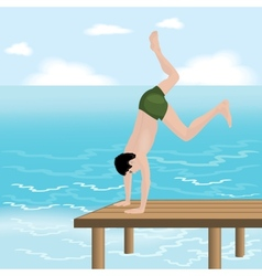 Man jumping in the sea vector