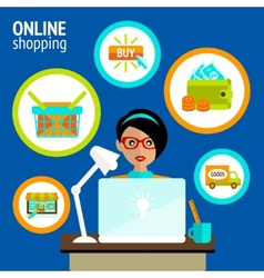 Person laptop online shopping concept vector