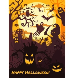 Halloween background with spooky cemetery bare vector