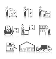 Warehouse icon black vector