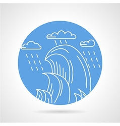 Waves and rain round icon vector