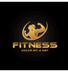 Man and woman of fitness golden silhouette vector