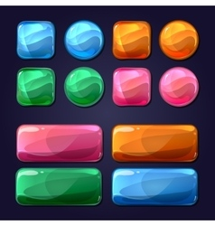 Cartoon glass buttons for game user vector