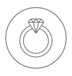 Diamond ring line icon vector image