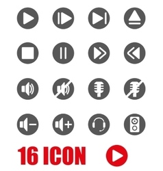 Grey sound icon set vector