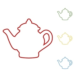 Tea maker set of line icons vector