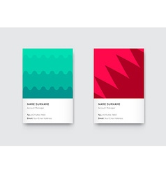 Bright trendy vertical business card set vector