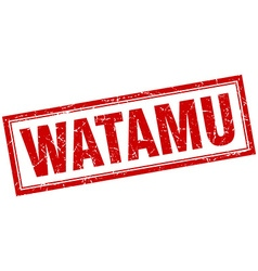 Watamu red square grunge stamp on white vector