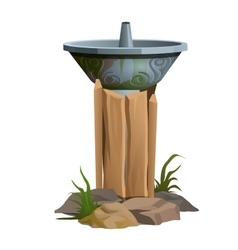 Fountain with drinking water outdoors steel bowl vector